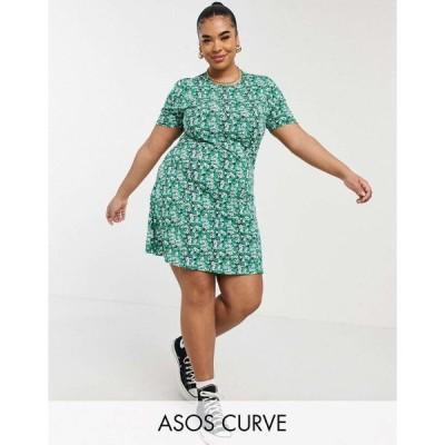エイソス ドレス 大きいサイズ レディース ASOS DESIGN Curve mini tea dress in green floral print エイソス ASOS グリーン 緑