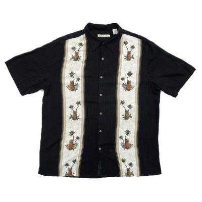 BatikBay アロハシャツ ハワイアンシャツ ブラックベース サイズ表記:L