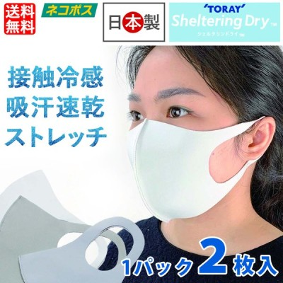 マスク 日本製 2枚入 立体マスク 3D 接触冷感 吸水速乾 吸汗速乾 男女兼用 個包装 ふつうサイズ 大人用 通気性 ウイルス マスクケース