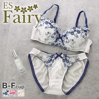 (イーエスフェアリー)ES Fairy ロマンティックブーケ ブラジャー ショーツ セット BCDEF プチプラ 大きいサイズ