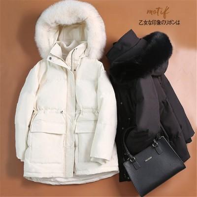 ダウンコート 中綿コート レディース きれいめ 軽量 ロング 暖か 冬服 秋冬 シロガモの綿毛 大きいサイズ ゆったり S M L ブラック ベージュ