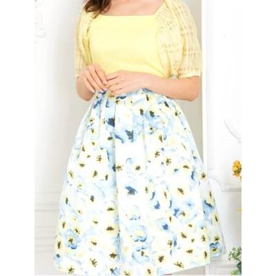 CherryAnn (チェリーアン) レディース ぼかしフラワースカート イエロー フリー