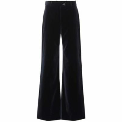 アクネ ストゥディオズ Acne Studios レディース ボトムス・パンツ High-rise flared velvet pants navy blue