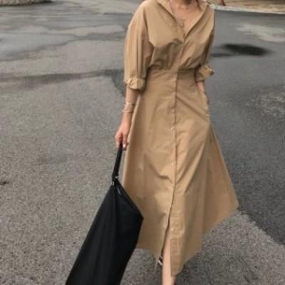 2色 シャツワンピース ロング丈 ベージュ グリーン 大人カジュアル シンプル レディース ファッション 韓国 オルチャン