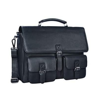 STILORD 'Victor' Vintage Briefcase Men Leather Modern Business Bag XL for A4 Folder 15.6 inches Laptops College Bag in Genuine Leather, Colour:Black