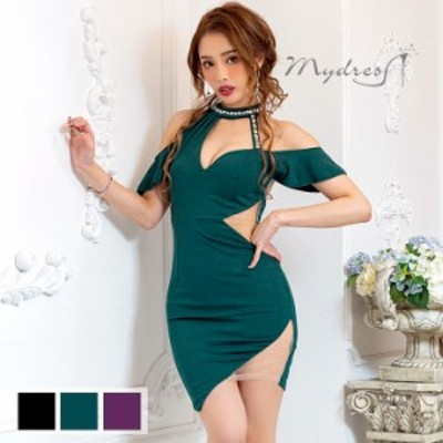 mydress マイドレス キャバ ドレスラジカルネックデザイン くびれシアータイトドレス