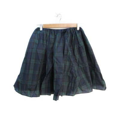 【中古】ラグナムーン LagunaMoon スカート フレア ギャザー ひざ丈 チェック柄 S 紺 緑 ネイビー グリーン /FF33 レディース 【ベクトル 古着】