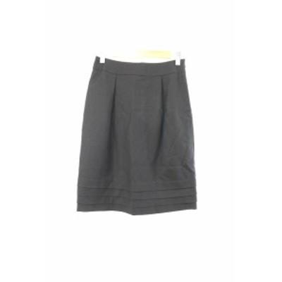 【中古】エムプルミエ M-Premier スカート 台形 ひざ丈 タック ウール 34 黒 ブラック /RT17 レディース