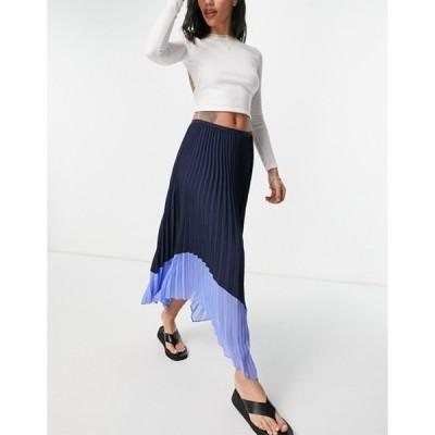 フレンチコネクション レディース スカート ボトムス French Connection pleated skirt in black with blue contrast hem