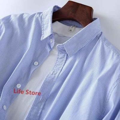 シャツメンズ長袖シャツトップスストライプカジュアルシャツビジネス通勤春物新作開襟シャツ薄手メンズファッション