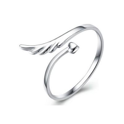 指輪 レディース/リング 天使の羽 ハート 矢/シルバー925 プラチナ仕上げ/C型リング サイズフリー/女性 人気 誕生日プレゼント
