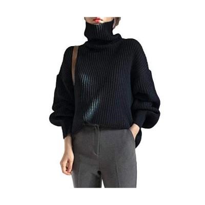 [パンプアップ] ハイネック セーター ニット 無地 ゆったり トップス レディース S ? 2XL ブラック XL