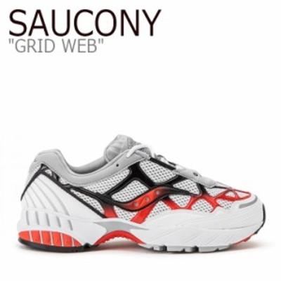 サッカニー スニーカー SAUCONY メンズ レディース GRID WEB グリッド ウェブ ホワイト グレー レッド S70466-2 シューズ