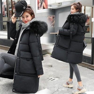 中綿コート レディース 40代  30代 ロング丈 軽い 冬服 厚手 アウター ダウン風コート 中綿ジャケット パーカー フード付