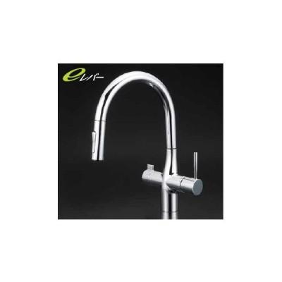 *KVK水栓金具*キッチン水栓 KM6081SCEC 浄水器付シングルレバー式シャワー式混合栓 シャワー引出式 グースネック【送料・代引無料】