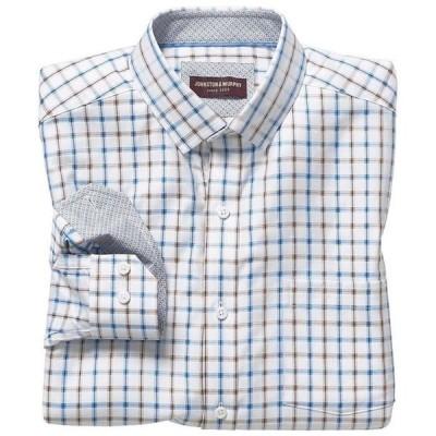 ジョンストンアンドマーフィー メンズ シャツ トップス Microdash Grid Long-Sleeve Woven Shirt