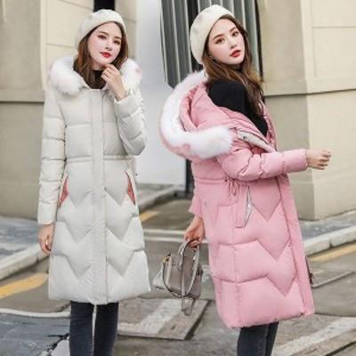 中綿コート レディース 40代 30代 ロング丈 軽い 冬服 アウター ダウン風コート 中綿ジャケット 無地 フード付き 暖かい 大きいサイズ ス