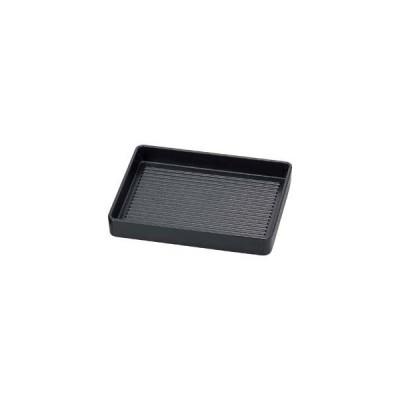 エ705-177 [TA]長角肉皿 黒(塗無)26cm[エンボス加工][洗]