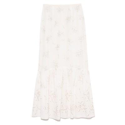 スカート フラワー刺繍ロングスカート