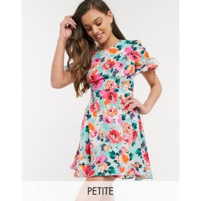 ブレイブソール ミディドレス レディース Brave Soul Petite bimba mini dress with ruffle hem in floral print エイソス ASOS レッド 赤