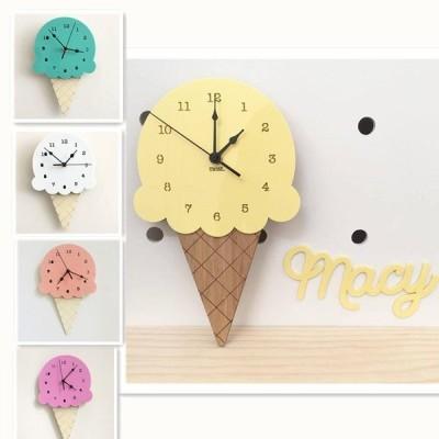壁掛け時計 ウォールクロック クロック おしゃれ 時計 壁 アイスクリーム 掛時計 アイス ダイカット 木製 子供部屋 ギフト 北欧