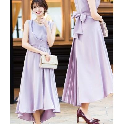 【ファッションレター】 クロスベルト バックプリーツ ドレス レディース ライトラベンダー 38(M) Fashion Letter