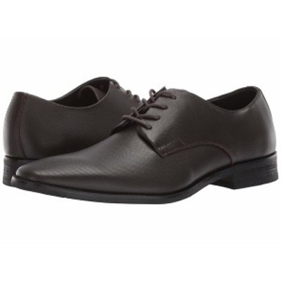 カルバンクライン メンズ ドレスシューズ シューズ Ramses Dark Brown Small Grid Emboss Leather