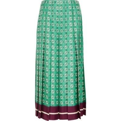 グッチ Gucci レディース ひざ丈スカート プリーツスカート スカート printed pleated silk-twill midi skirt Blue
