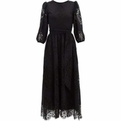 ノア ド ボルゴ Borgo De Nor レディース ワンピース ミドル丈 ワンピース・ドレス Constance lace-panel poplin midi dress Black