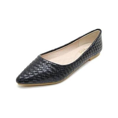 [W.L.M] レディース フラット シューズ ポインテッドトゥ 靴 ローヒール パンプス (ブラック 23.5 cm)