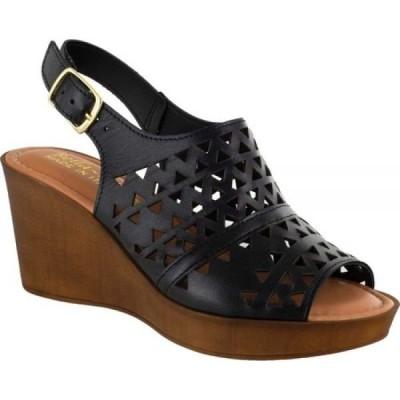 ベラヴィータ Bella Vita レディース サンダル・ミュール ウェッジソール シューズ・靴 Deb-Italy Laser Cut Out Wedge Slingback Sandal Black Nappa Leather