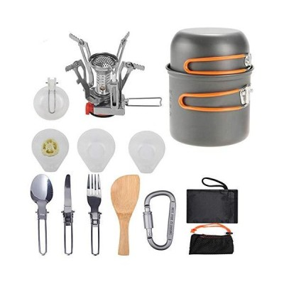 全国送料無料!Adaskala Portable Camping Pot Set Aluminum Alloy Pot Foldable Furnace Stainless Steel Cutlery Outdoor Picnic