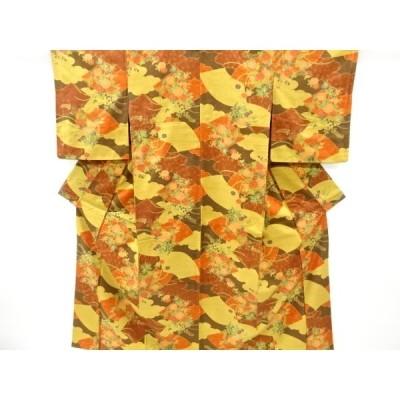 リサイクル 地紙に菊・萩模様手織り真綿紬着物