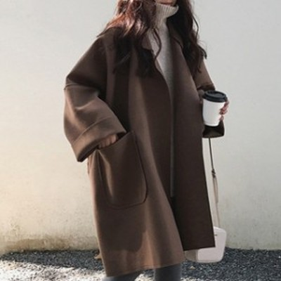 トレンド 売れ筋 秋冬 アウターコート ビッグシルエット ゆったり 羽織り トレンド 無地 シンプル ドロップショルダー 着まわ