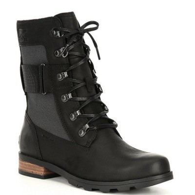 ソレル レディース ブーツ&レインブーツ シューズ Women's Emelie Lace Mid Winter Waterproof Block Heel Lug Sole Boots Black