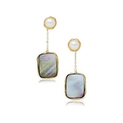 La Raffine Natural Freshwater Pearl Dangle Earrings with Rectangle Black Sh【並行輸入品】