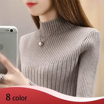 2020秋冬の新型韓国版の修身カバーの頭の短い長袖のニットの高襟のセーターは底のブラウスの女性を打ちます