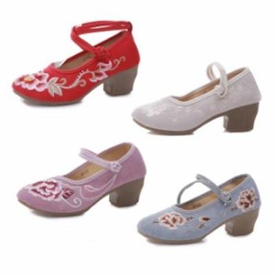 刺繍手作り中国靴 12色4タイプ3-5CM厚底チャイナ靴 布素材 レディースチャイナシューズ 森ガールスニーカー厚底シューズ 唐装漢服用