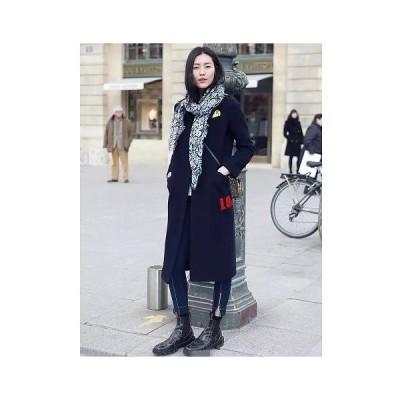 レディース アウター ロングコート ゆったり ワッペン 長袖 大きいサイズ シンプル 無地 ウール カジュアル 大人可愛い フェミニン ビジネス 通勤