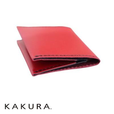 カクラ KAKURA 二つ折りウォレット slim レッド 二つ折り財布 スリム 薄型 牛革 手縫い ギフト プレゼント 贈り物 メンズ レディース