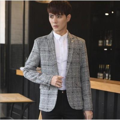 3色 チェック柄 格好良い メンズ 韓国風 テーラードジャケット 春秋冬 スリム ブレザー 大きいサイズ 長袖 通勤 フォーマル ビジネス OL 20代30代40代