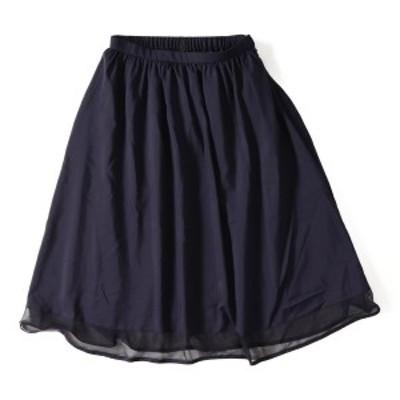 AMACA(アマカ) スカート 膝丈 フレア スパンローンギャザー ネイビー 18S/S  38(M位) 【レディース】【K2009】【美品】【中古】