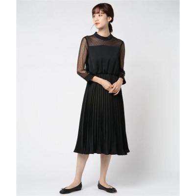 ドレス スタンドカラードットチュール切替プリーツドレス