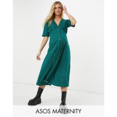 エイソス レディース ワンピース トップス ASOS DESIGN Maternity midi tea dress with horn buttons in forest green base floral Fores