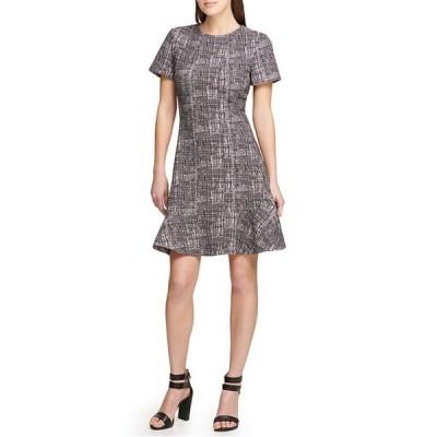 ダナ キャラン ニューヨーク レディース ワンピース トップス Flounce Hem Textured Knit Tweed Short Sleeve Fit & Flare Dress