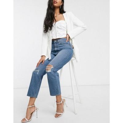 エイソス ASOS DESIGN レディース ジーンズ・デニム recycled florence authentic straight leg jeans in extreme aged mid blue with ripped knees