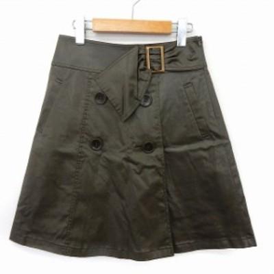 【中古】ストロベリーフィールズ STRAWBERRY-FIELDS スカート 台形 膝丈 フロントボタン レザー風 ポケット 1 カーキ