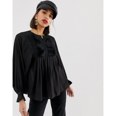 ロストインク レディース カットソー トップス Lost Ink relaxed blouse with ruffle v neck Black