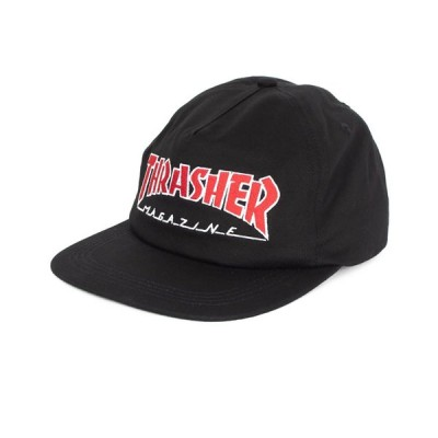 Thrasher Magazine(スラッシャー マガジン)US企画 キャップ スナップバックハット 帽子 Outline Snap-Back Hat Black スケボー SK8 スケートボード