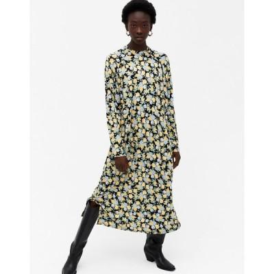 モンキ レディース ワンピース トップス Monki Pia floral print long sleeve midi dress in multi Floral